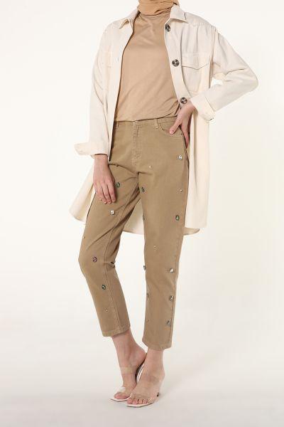 Doğal Kumaş Taşlı Kot Pantolon
