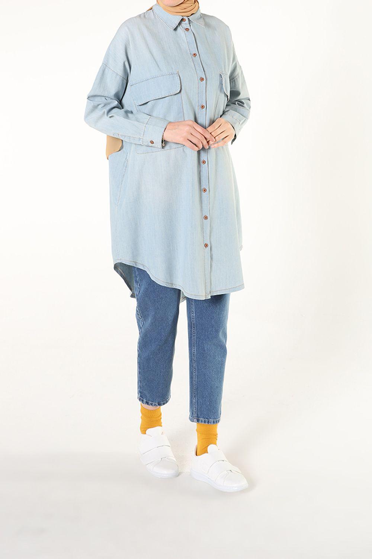 Büyük Cepli Denim Gömlek Tunik