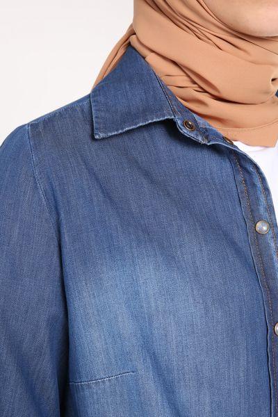 Patlı Çıtçıtlı Denim Gömlek Tunik