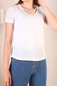 Viskon V Yaka Kısa Kol T-Shirt