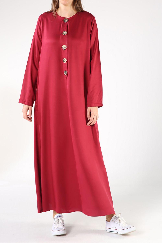 Düğme Detaylı Kloş Viskon Elbise