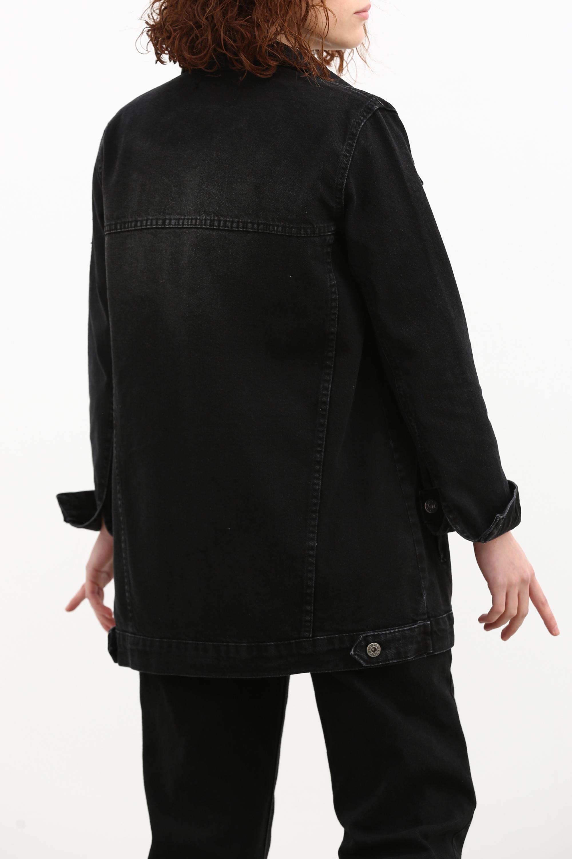 Düğmeli Kot Ceket