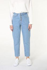 Doğal Kumaş Düğmeli Kot Pantolon