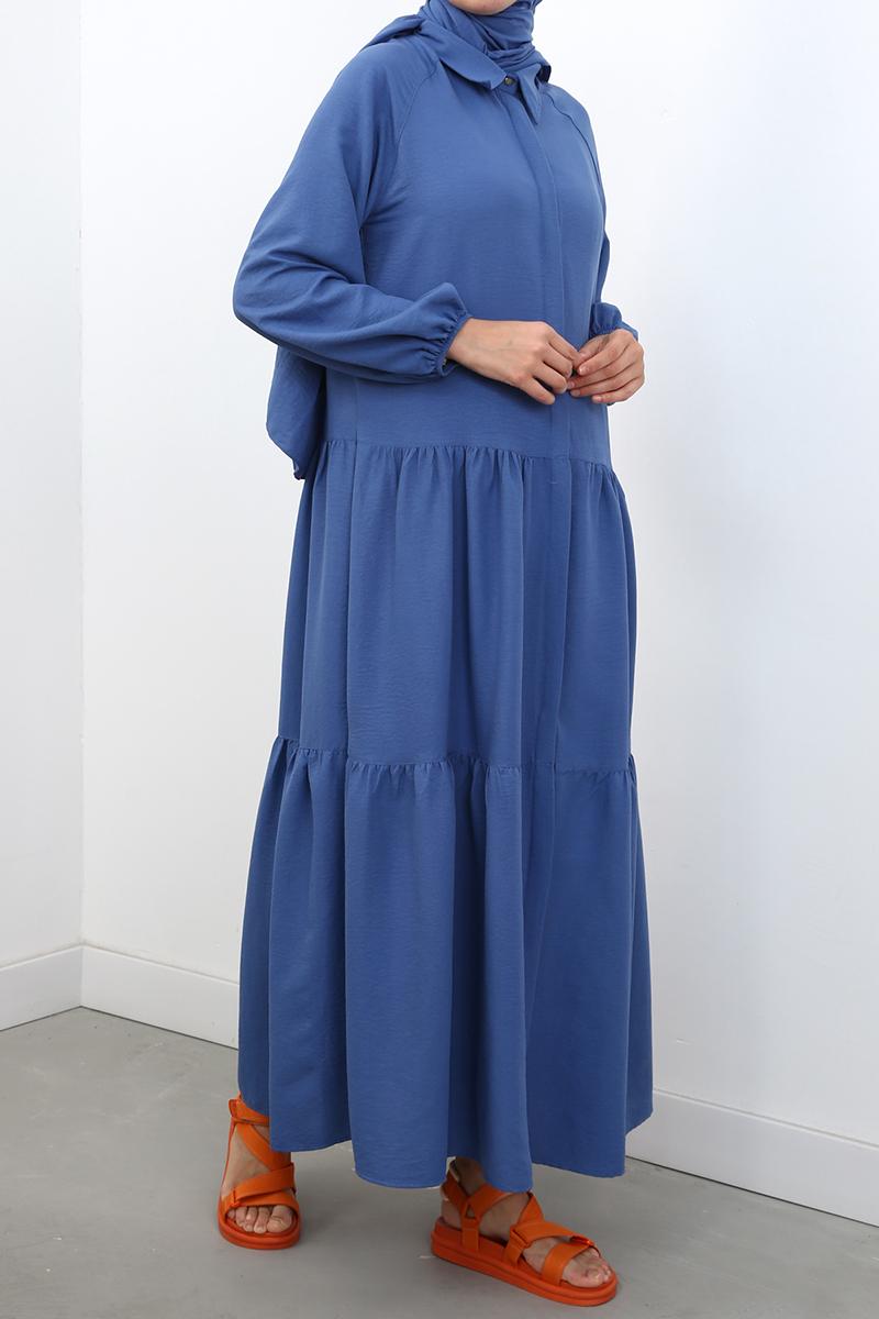 Düğmeli Reglan Kol Elbise