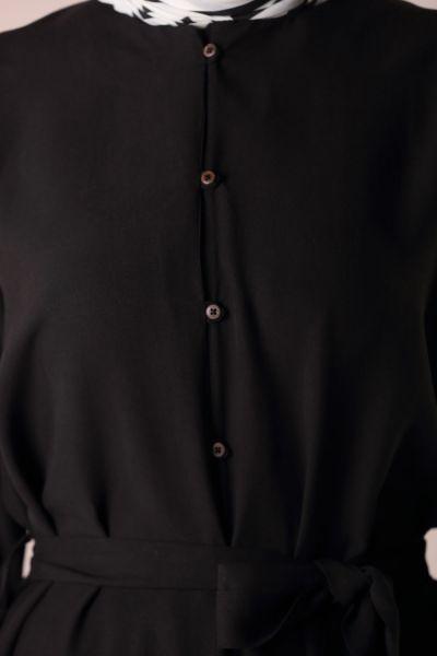 Tensel Düğmeli Kuşaklı Tunik