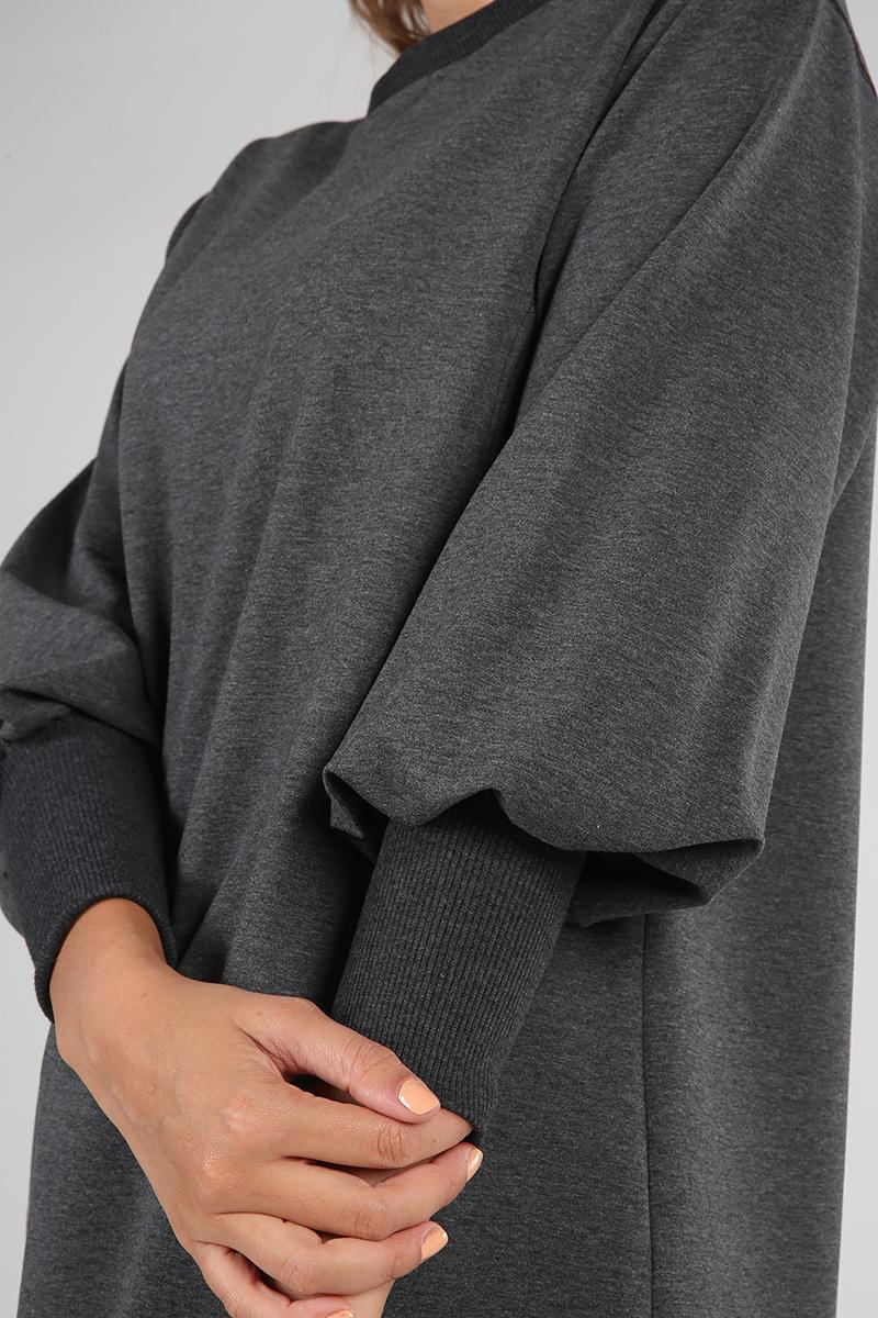 Pamuklu Düşük Kol Ribanalı Sweat Tunik