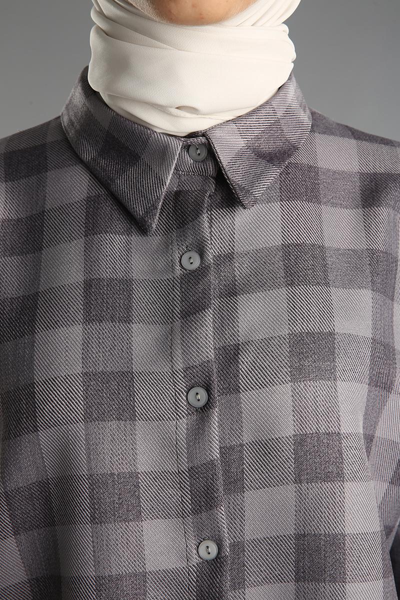 Pamuklu Ekoseli Kolları Lastikli Gömlek Tunik