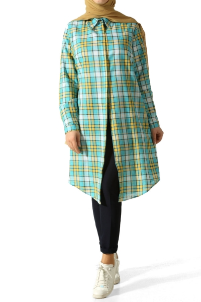 Gizli Patlı Ekoseli Gömlek Tunik