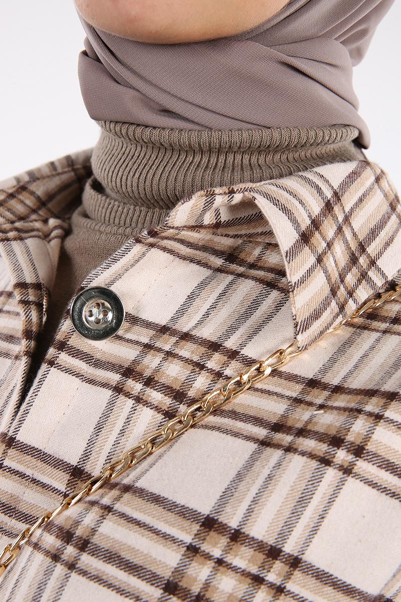 Ekose Yanları Yırtmaç Detaylı Düğmeli Gömlek Tunik
