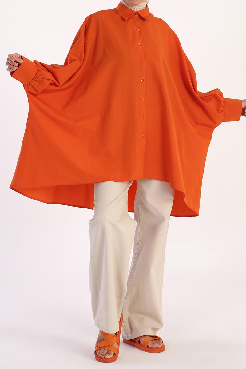 Ekstra Geniş Kesimli Pamuklu Gömlek Tunik