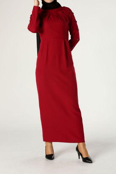 Kolları Düğme Detaylı Elbise