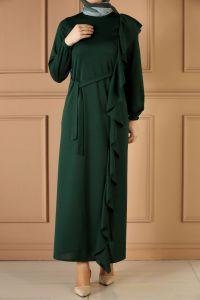 Fırfır Detay Kuşaklı Elbise