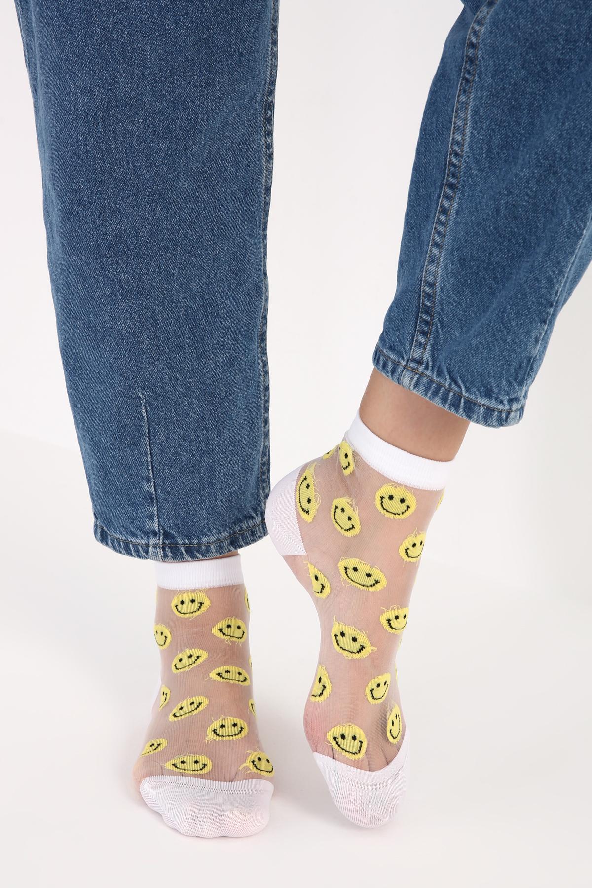 Emoji Desenli Tül Soket Çorap