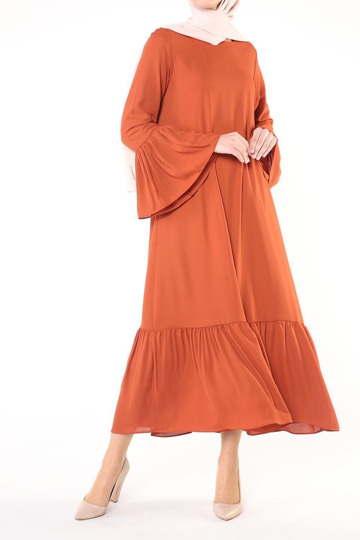 Eteği Fırfırlı Krep Elbise