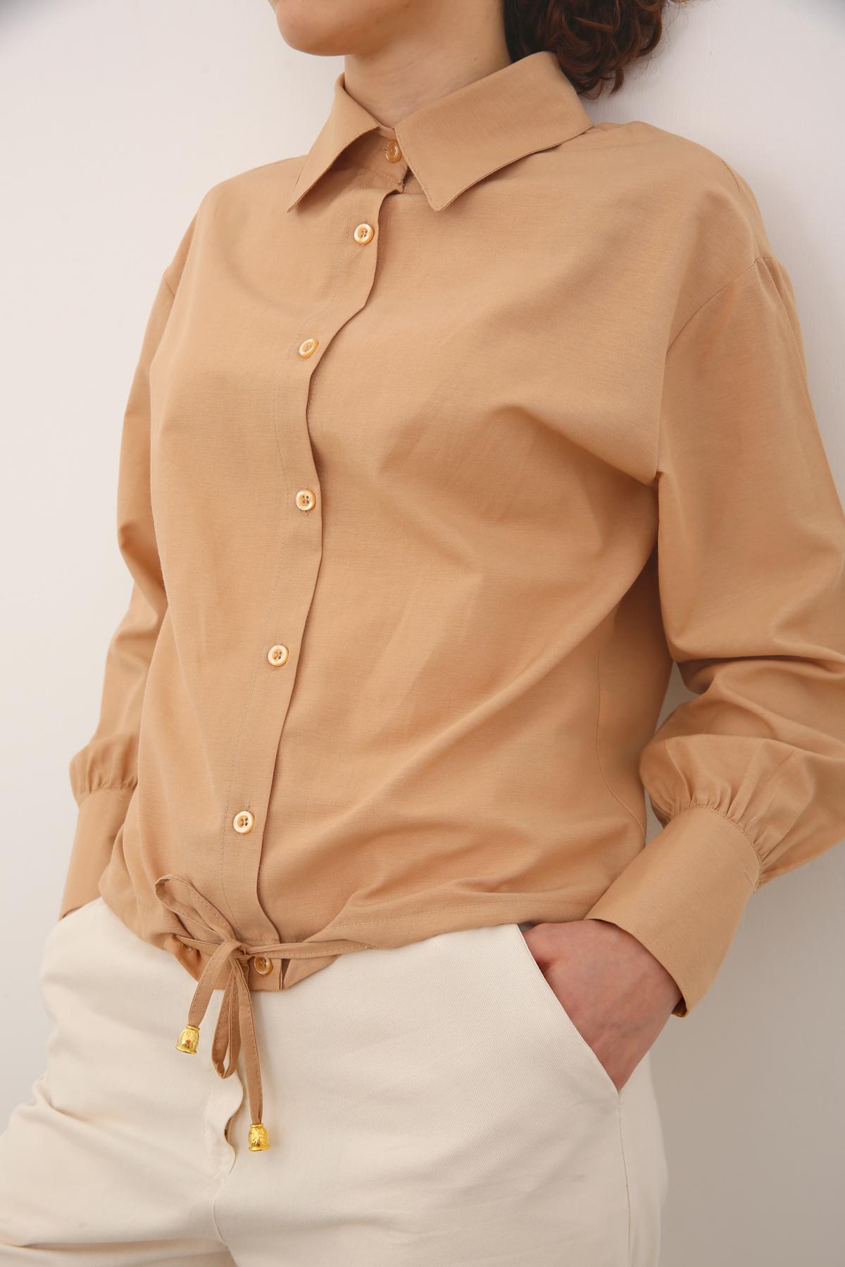 Etek Ucu Bağcıklı Gömlek