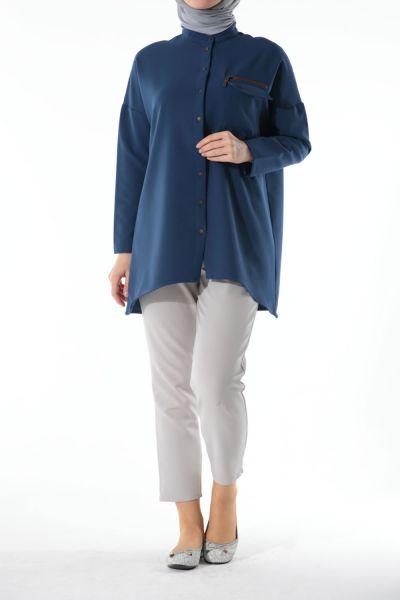 Fermuar Detaylı Gömlek Tunik