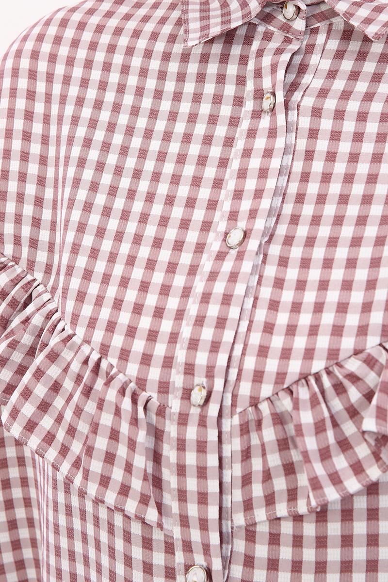 Fırfır Detaylı Ekose Gömlek Tunik