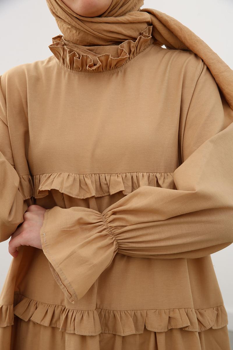 Fırfır Detaylı Bol Kesim Elbise
