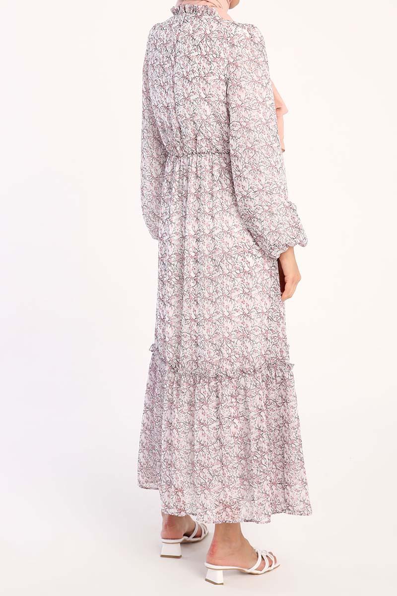 Fırfırlı Balon Kol Desenli Şifon Elbise