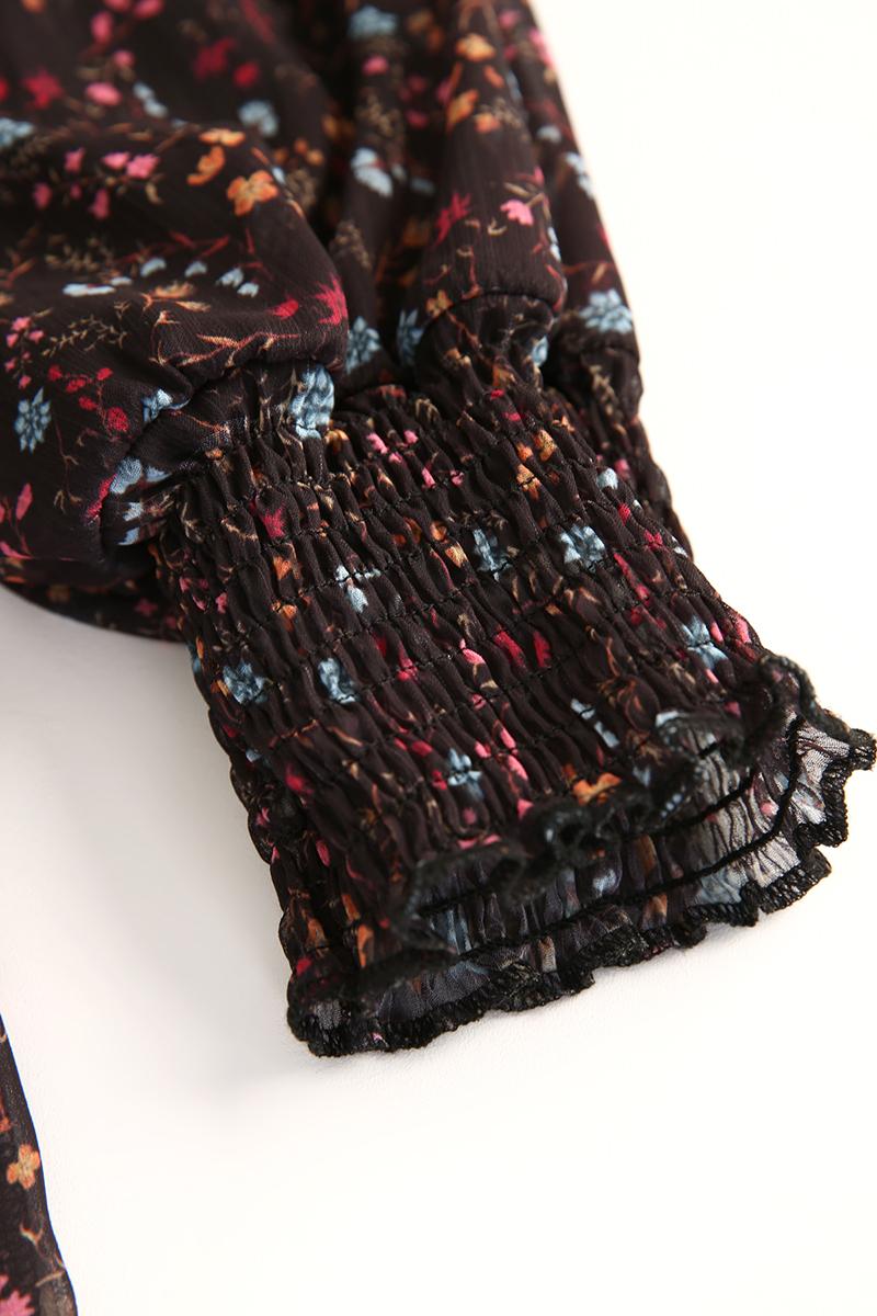 Fırfırlı Çiçek Desenli Elbise