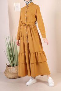 Düğmeli Kuşaklı Fırfırlı Elbise