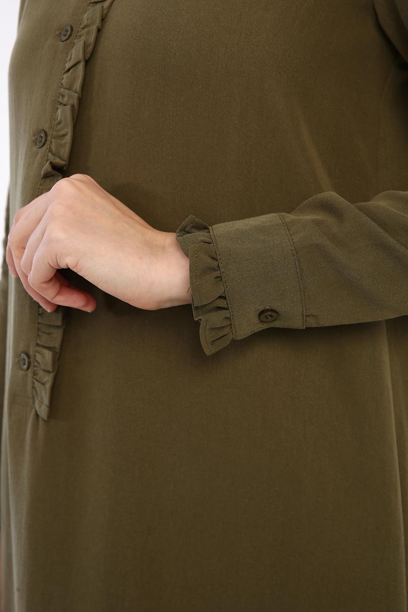 Fırfırlı Düğmeli Tunik