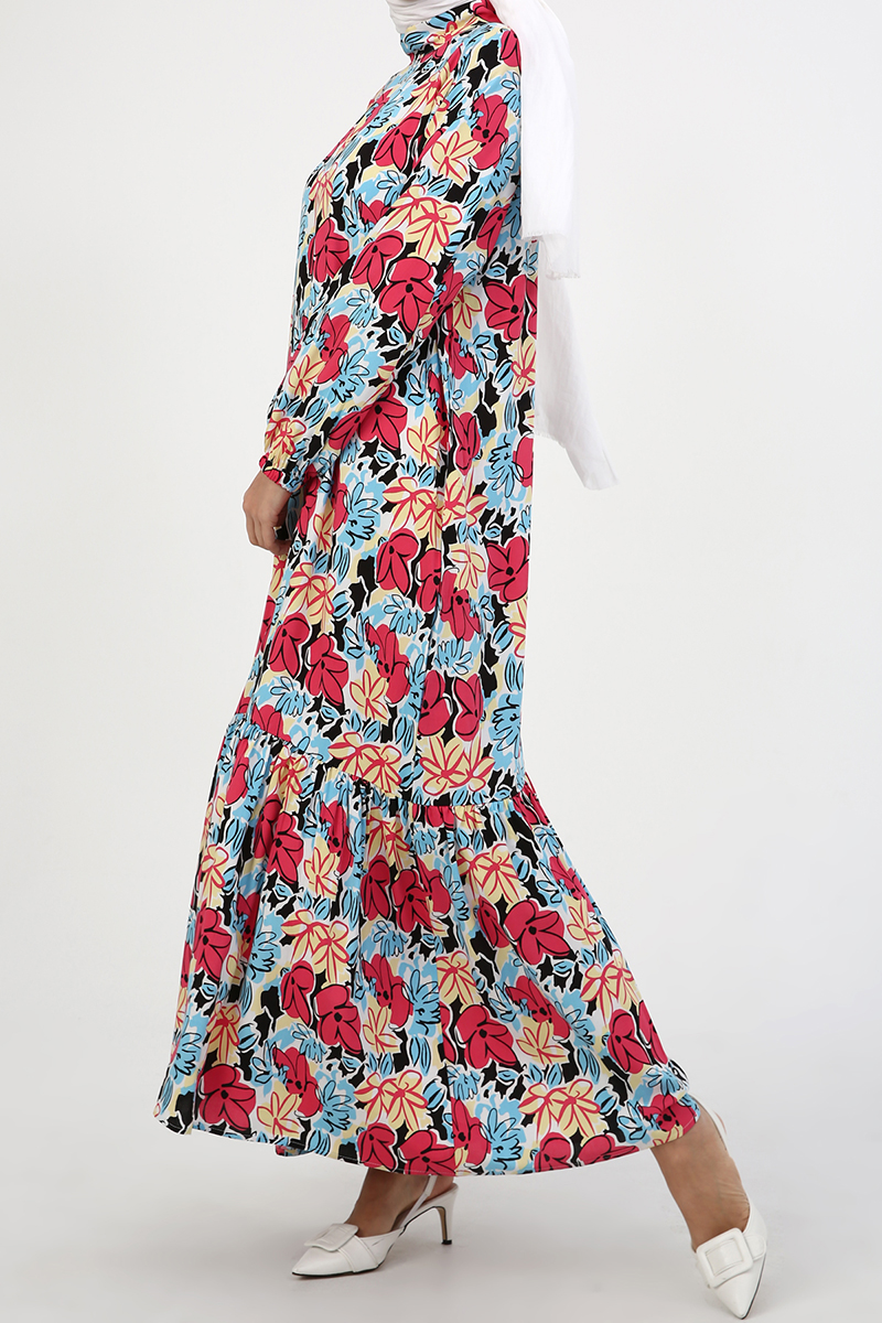 Geniş Kesim Dökümlü Elbise