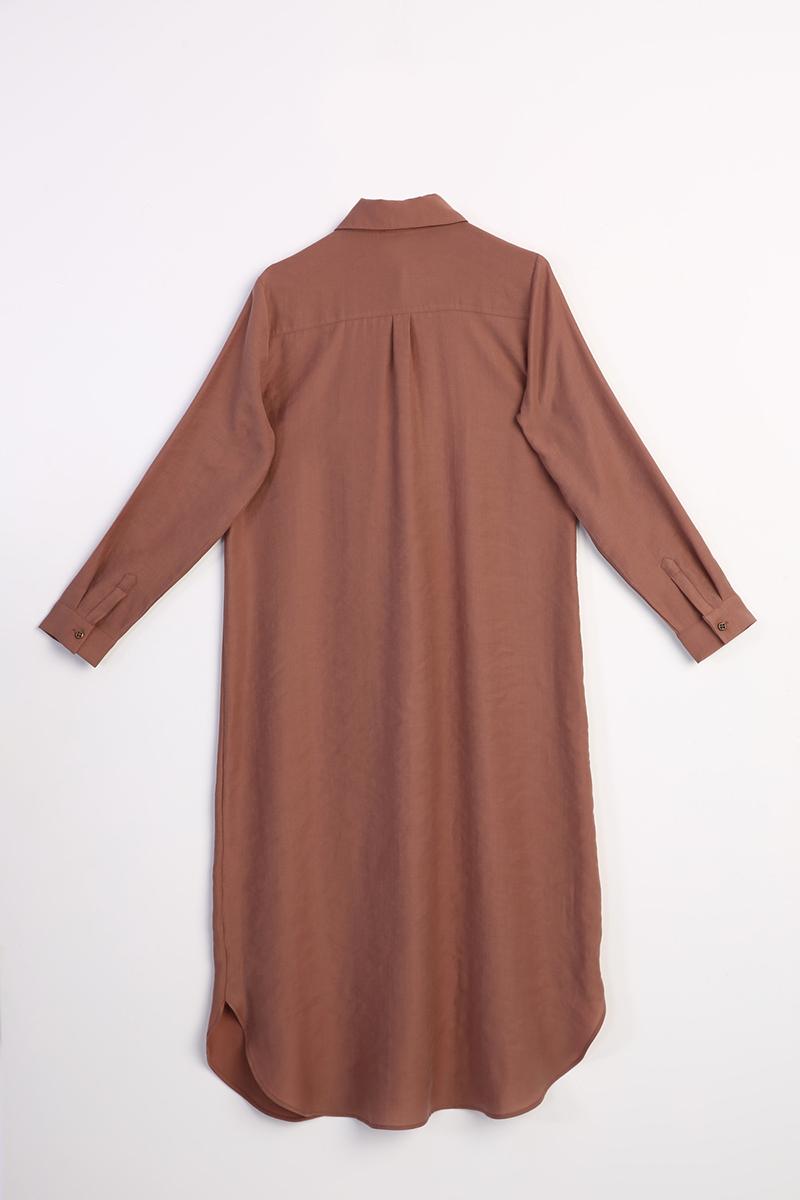 Gizli Patlı Tensel Gömlek Elbise