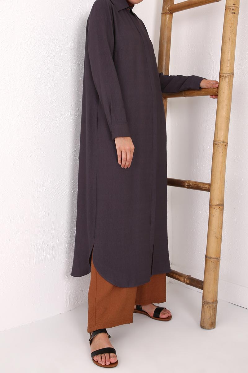 Gizli Patlı Düğmeli Elbise Tunik
