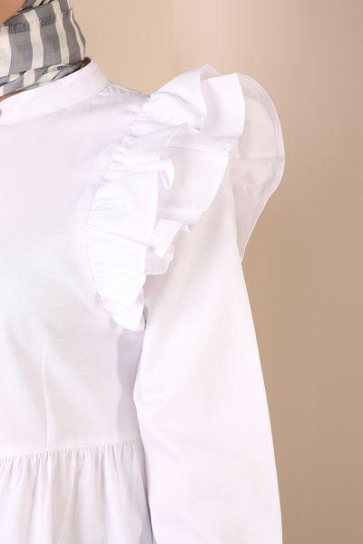 Gizli Patlı Omuz Fırfır Detaylı Gömlek