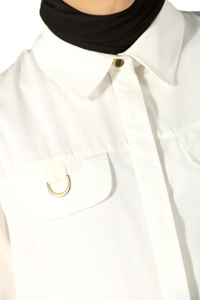 Gizli Patlı Yakalı Gömlek Tunik