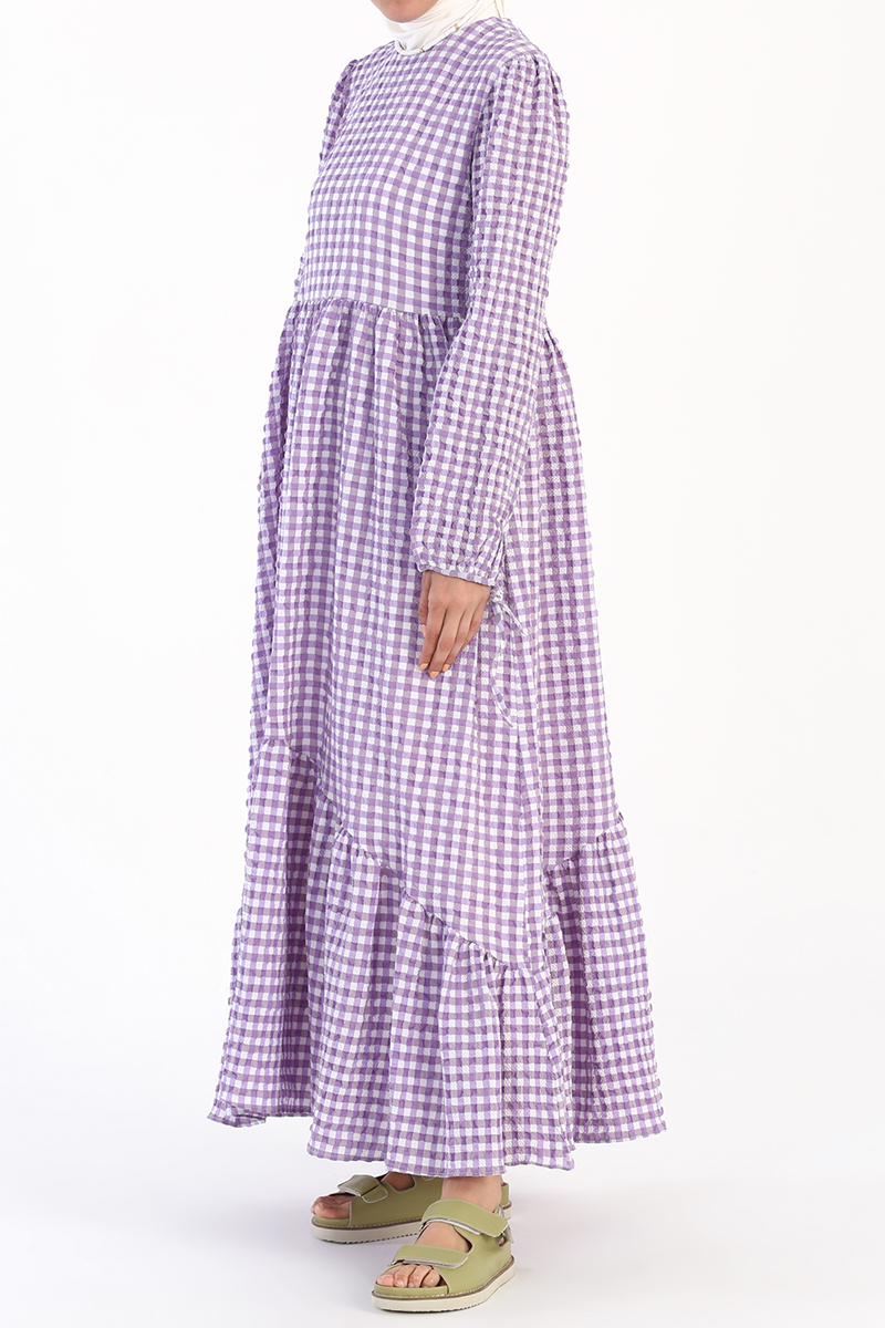 Gofre Kumaş Pötikareli Elbise