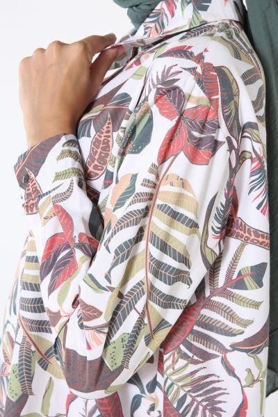 Yarım Patlı Eteği Büzgülü Desenli Tunik