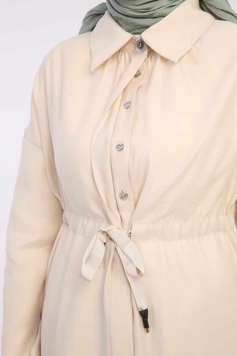Gömlek Yakalı Düğmeli Tensel Ferace