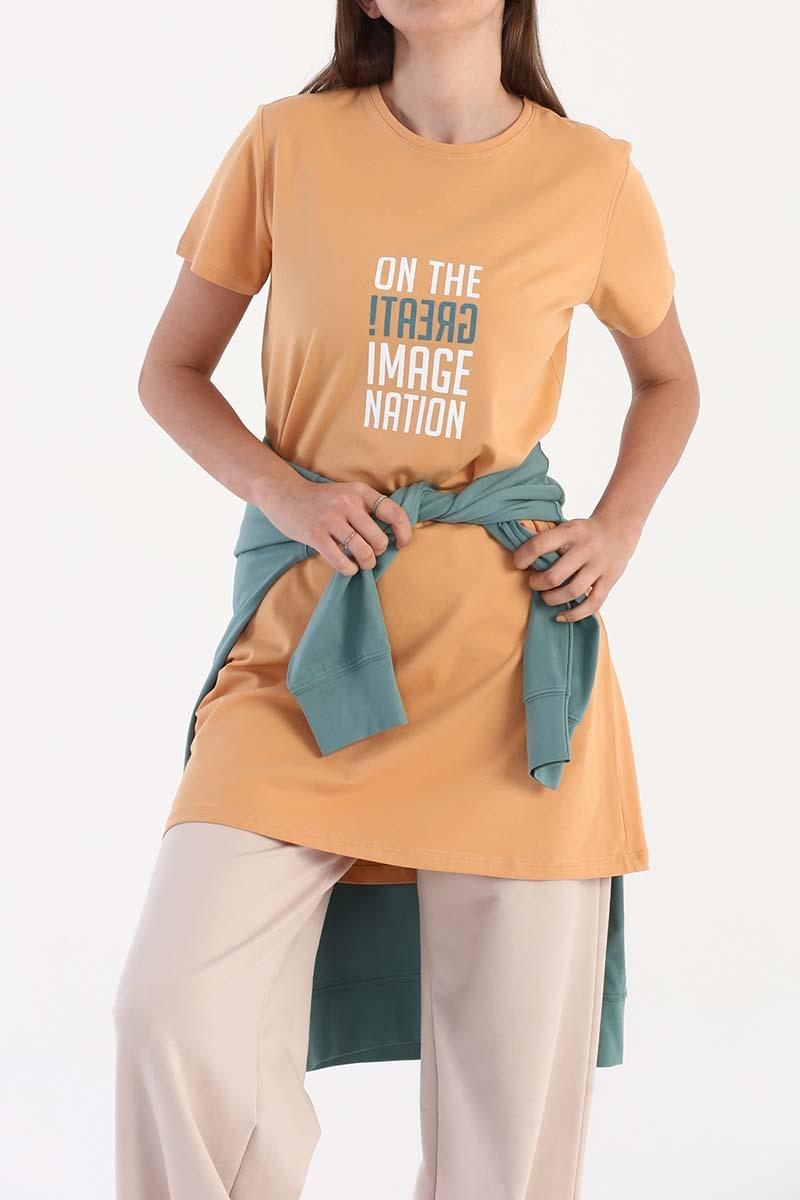 Great Baskılı Kısa Kollu T-Shirt Tunik