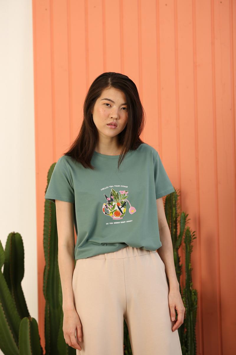 Hello Tea Tİme Baskılı Kısa Kollu T-Shirt