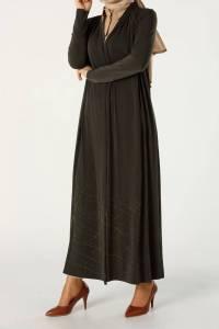 Piliseli Eteği Desenli Önü Açık Uzun Hırka