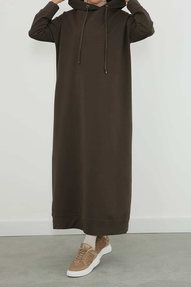 Kapüşonlu Pamuklu Elbise