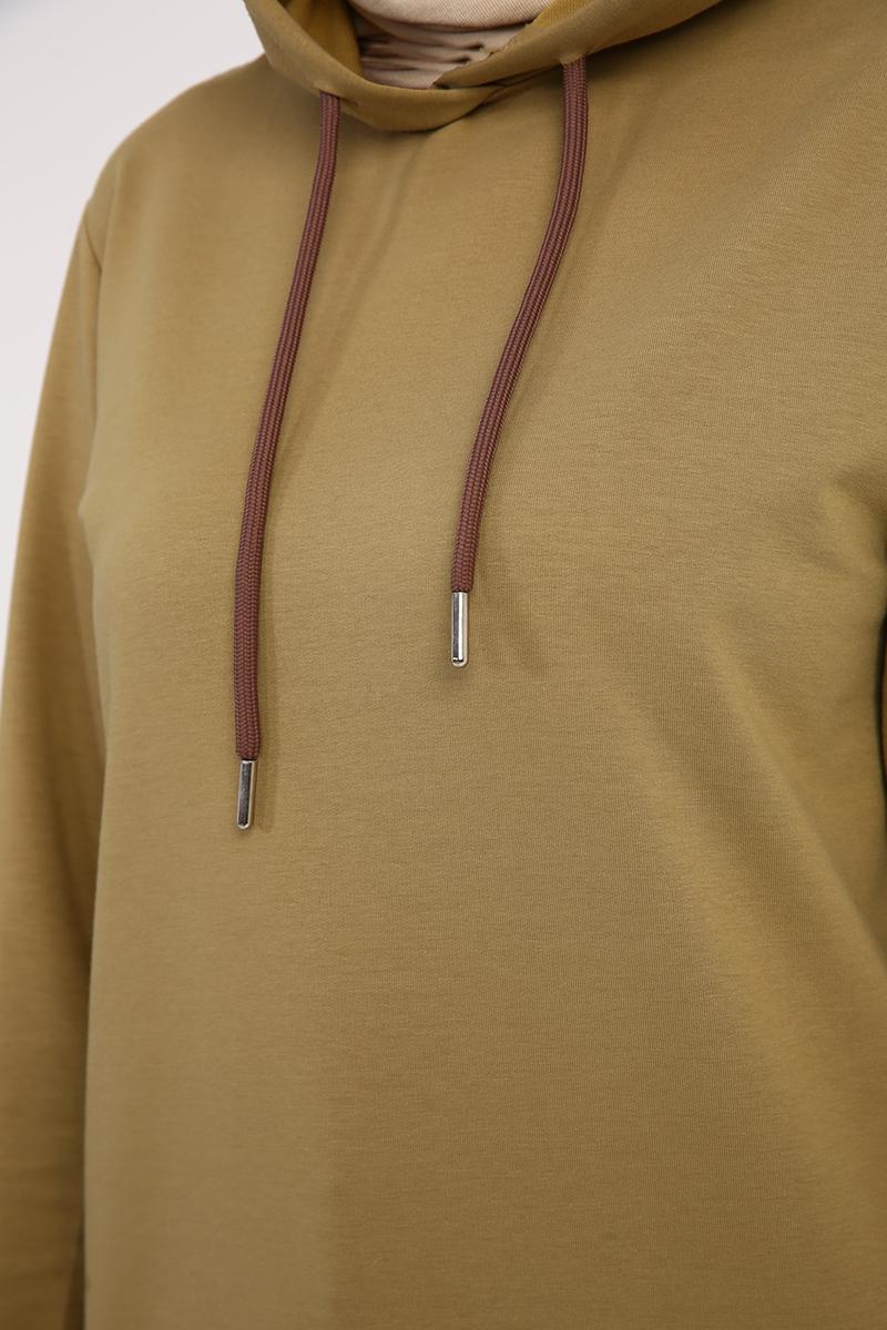 Kapüşonlu Eteği Asimetrik Tunik