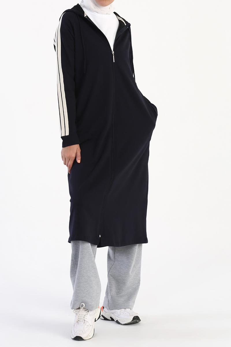Kapüşonlu Fermuarlı Uzun Hırka