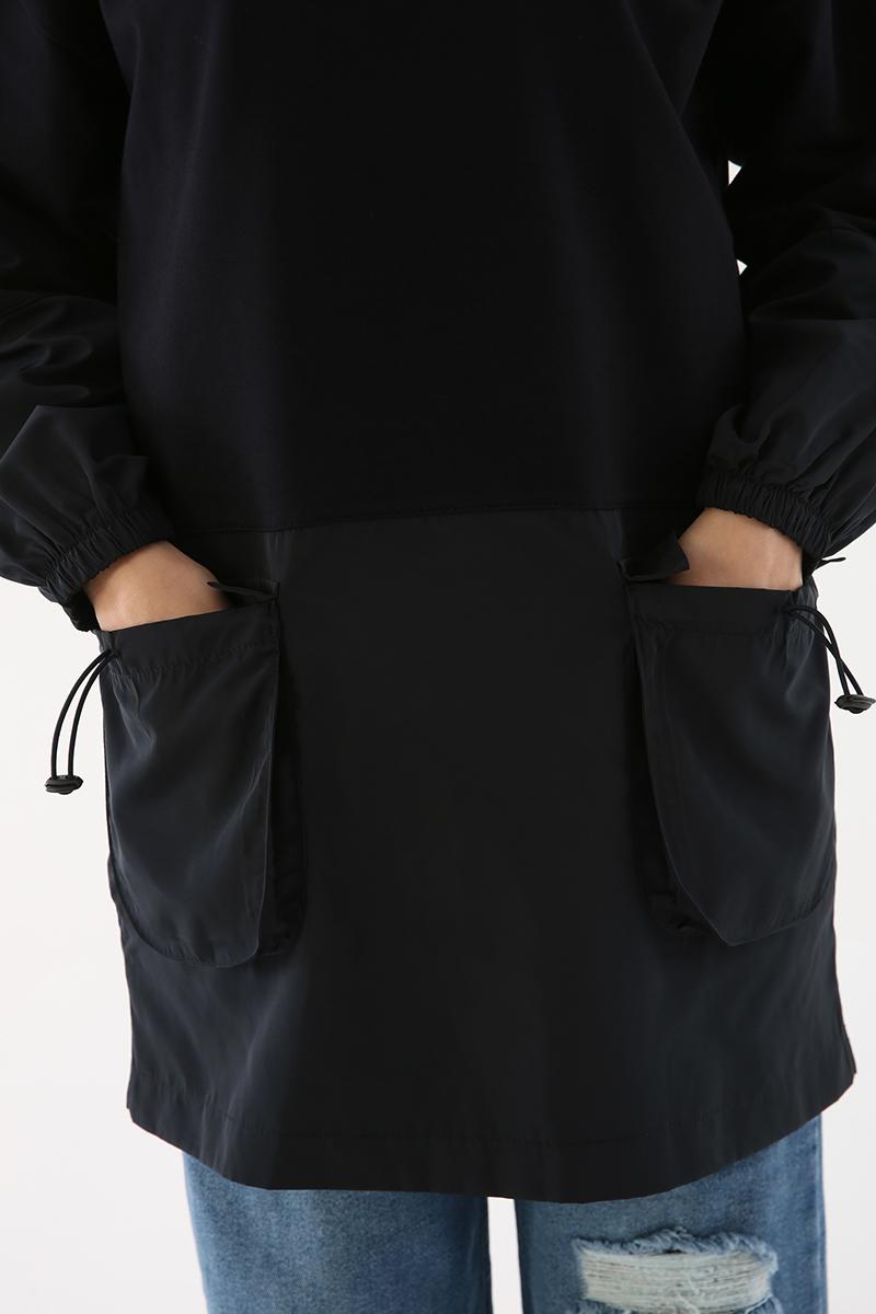 Kapüşonlu Garnili Sweat Tunik