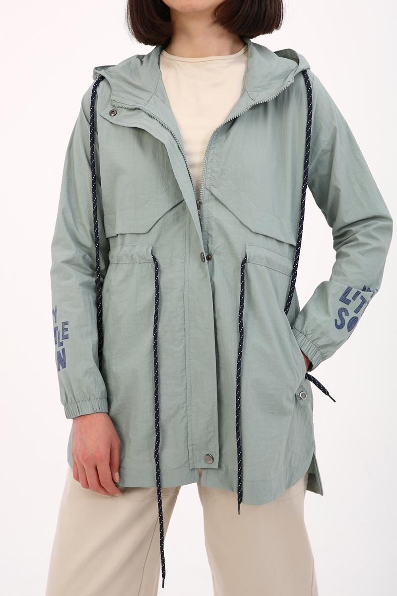 Kapüşonlu İnce Ceket