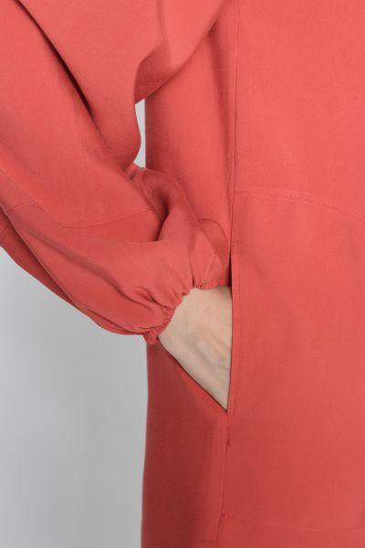 Viskon Kapüşonlu Düğmeli Sweat Tunik