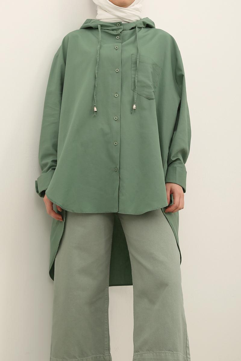 Kapüşonlu Salaş Gömlek Tunik