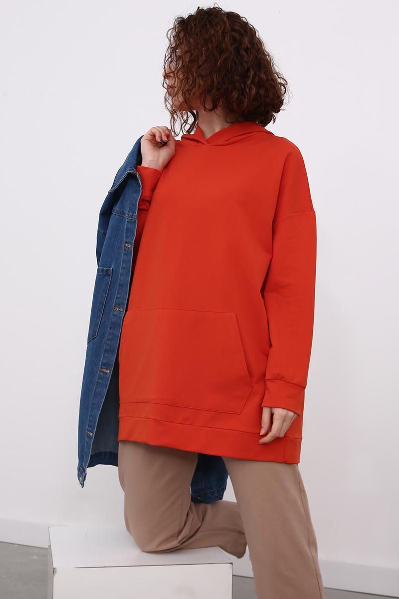 Kapüşonlu Basic Sweat Tunik