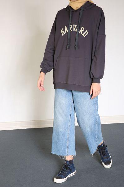 Yarece Kapüşonlu T-Kol Baskılı Cepli Sweatshirt