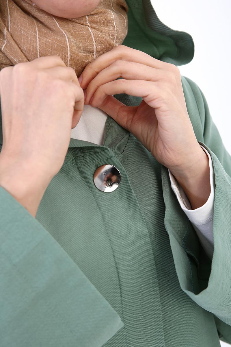 Kapüşonlu Düğmeli Tensel Salaş Kap
