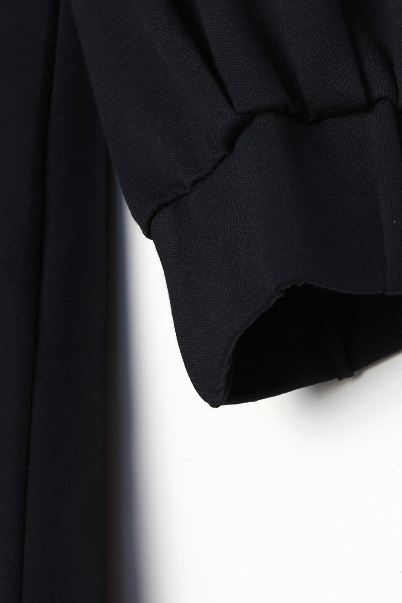 Kapüşonlu Kol Lastikli Yaka Bağcıklı Tunik
