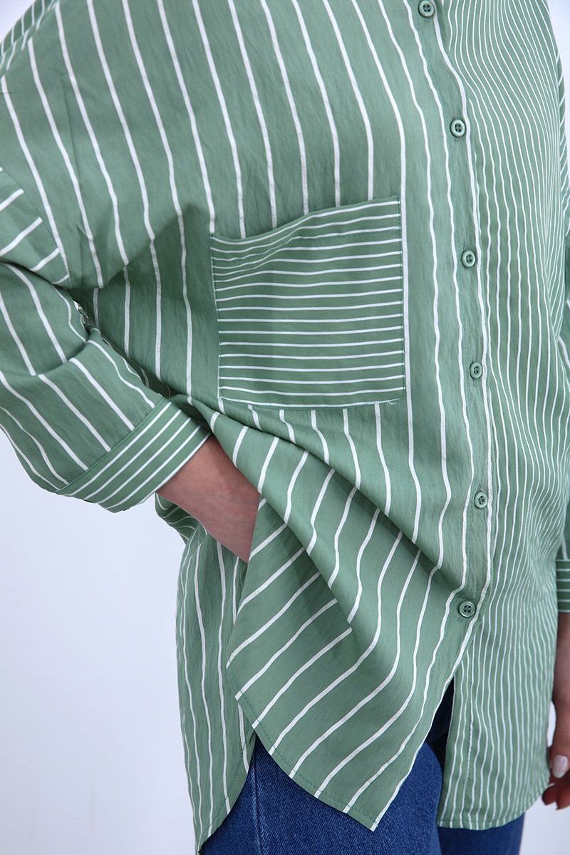 Karma Çizgili Gömlek Tunik