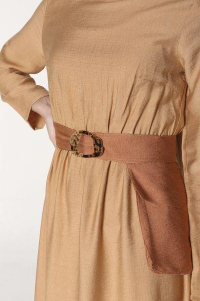 Bel Lastikli Kemer Detaylı Elbise